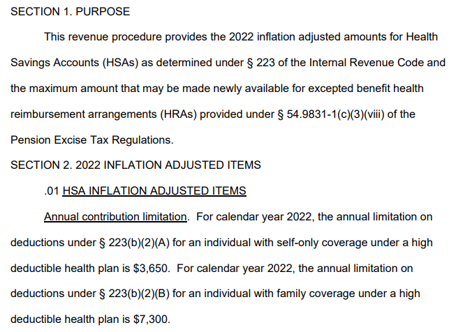 IRS 2022 Limits for HSA Contributions and High-Deductible Health Plans